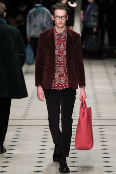 Burberry Prorsum Fall 2015 Menswear - Collection - Gallery - Style.com // Shades of Red, Corduroy