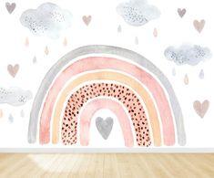 Baby Room Decor, Nursery Room, Girl Nursery, Nursery Decor, Warm Grey Walls, Arte Sketchbook, Rainbow Wallpaper, Nursery Wallpaper, Designer Wallpaper