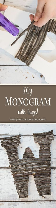 Make your own twig monogram in just a few minutes! Great way to bring a little nature indoors! Twig Crafts, Nature Crafts, Fall Crafts, Wood Crafts, Crafts For Kids, Arts And Crafts, Diy Monogram, Christmas Diy, Craft Projects