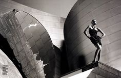 A model poses by Frank Gehry's Guggenheim Museum Bilbao for Vogue China. Photo: Greg Kadel.
