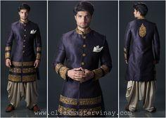blue sherwani with dhoti pants ideal for sangeet. by SAGAR TENALI. to order this pls leave a msg to sagar.tenali@gmail r call 09885812840.
