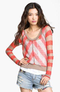 Free People 'Robin's Egg' Sheer Stripe Sweater