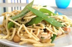 Healthy Pad Thai  - whole wheat noodles, an all-natural peanut butter sauce, shrimp, fresh snap peas, and peanuts
