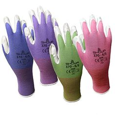 4 Pack Showa Atlas NT370 Atlas Nitrile Garden Gloves  Small Assorted Colors >>> Read more  at the image link.