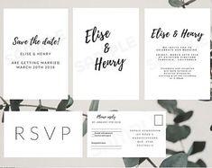 minimal beautiful wedding invitation kit download