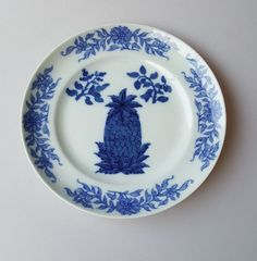 Mottahedeh Vista Alegre Historic Charleston Blue Pineapple Salad/Dessert Plate #Mottahedeh