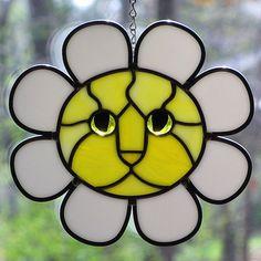 Stained Glass Daisy Cat Face Suncatcher by LivingGlassArt