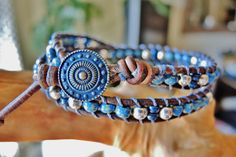 Unisex DENIM & SILVER Double Wrap Brown Leather Bracelet with Czech Picasso Denim Glass Beads and Sterling Silver Beads with Blue Button