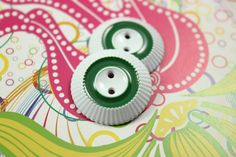Green Circle White Side Gear Metal Buttons , 2 Holes , 1 inch , 10 pcs by Lyanwood, $7.00