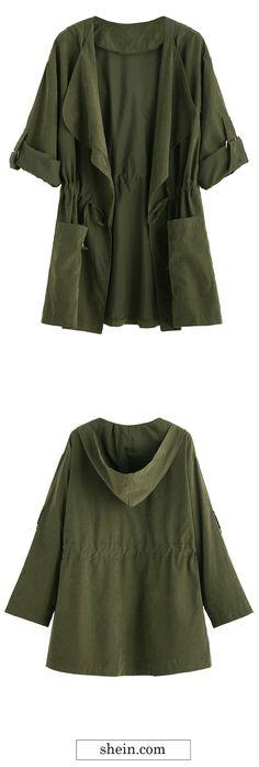 Olive Green Drape Collar Drawstring Coat. 40% off 1st order.