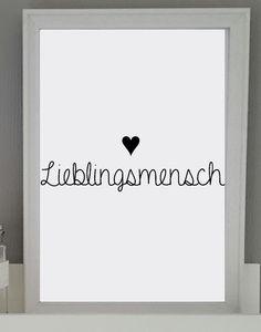 """Valentinstagsgeschenke - Valentinstag """"LIEBLINGSMENSCH3"""" Kunstdruck 20x30cm - ein Designerstück von Kleines_mit_Herz bei DaWanda"""