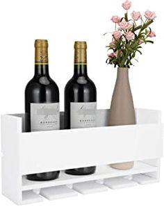 Amazon.com : wall mounted wine rack and glass holder Wooden Wine Bottle Holder, Glass Holders, Wine Shelves, Wine Storage, Farmhouse Kitchen Decor, Kitchen Dining, Dining Room, Red Wine Glasses, Wine Rack
