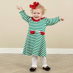 Girls Green Stripe Red Collar Dress – Lolly Wolly Doodle