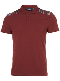 Burgundy Pattern Patch Polo #Topman
