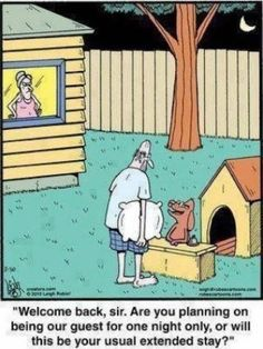 Funny Husband Dog House Hotel Cartoon Picture