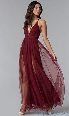 V-Neck Long Prom Dress with Adjustable Straps