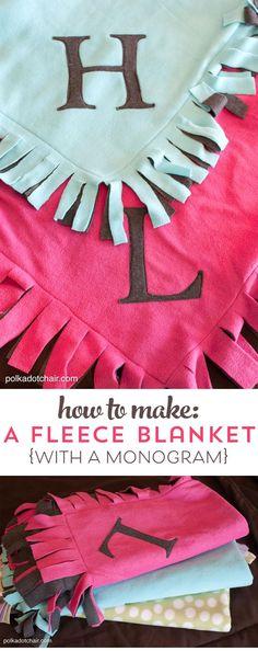 How to make a no tie polar fleece blanket with a monogram, makes a fun gift.
