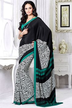 Casual Printed Black And White Color Saree