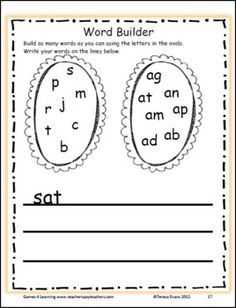 Short a Word Builder - Great Short a CVC activity from Short a Word Work unit from Games 4 Learning. $