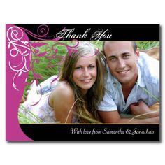 Thank You Photo Wedding Postcard Fuchsia Pink
