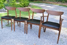 Vintage Danish Modern Dining Chair Set of 4 Mid Century Teak