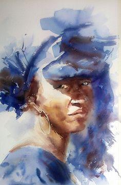Africaine au cheich bleu