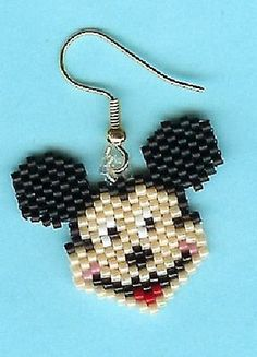 Hand Beaded Smiling Mouse dangling earrings