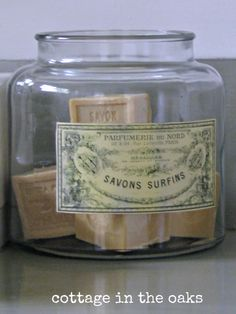 DIY :: French Country Vintage ApothecaryJars (You use Free Vintage Labels)