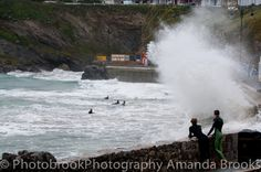 Man nearly swept into the sea in Newquay storm swell Newquay, Cornwall, Niagara Falls, Waves, Sea, Sunset, Nature, Naturaleza, The Ocean