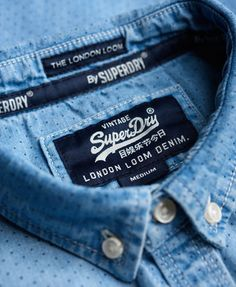 Discover Superdry's new season clothing for men. Shop the latest jackets, t-shirts & shirts right here. Denim Branding, Fashion Branding, Mens Shirt Pattern, Shirt Label, Mein Style, Branded Shirts, Clothing Labels, Denim Shirt, Casual Shirts For Men