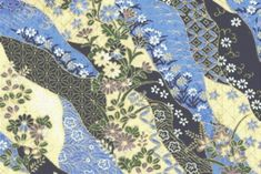 Fat Quarter Crane dynastie Geisha en coton bleu quilting tissu Kona Bay