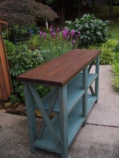 Blue console table idea- Just built this. Wish I would have thought of the two tone finish!!!!