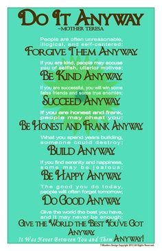 11x14 mother teresa do it anyway poem on etsy 2400 etsy do it anyway inspirational quote by mother by 7wondersdesign 2400 altavistaventures Gallery