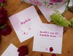 Hand painted personalised, watercolour flowers wedding invitation plus RSVP…