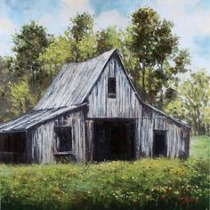 Add to your farmhouse decor with a hand painted piece of art. This Hand Painted White Country Barn Canvas Art Print will take you back to simpler times. Farmhouse Paintings, Farm Paintings, Country Paintings, Paintings Famous, Arte Country, Country Barns, Old Barns, Country Living, Barn Pictures