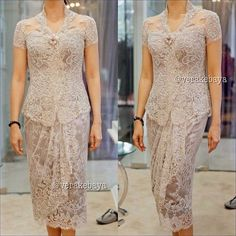 ideas for dress brokat modern indonesia Vera Kebaya, Kebaya Dress, Batik Kebaya, Dress Pesta, Batik Dress, Kebaya Hijab, Lovely Dresses, Trendy Dresses, Lace Dresses