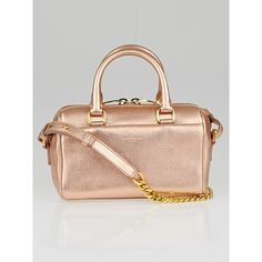 Pre-owned Saint Laurent Rose Gold Metallic Leather Classic Duffle Toy... (5,900 CNY) ❤ liked on Polyvore featuring bags, handbags, leather purse, mini purse, satchel handbags, gold metallic handbags and metallic leather purse