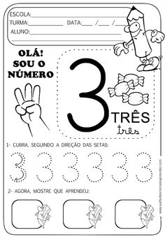 Atividade pronta - Numeral 3 Number Sense Activities, Activities For Kids, Preschool Math, In Kindergarten, Writing Numbers, Math Worksheets, Pre School, Kids Learning, Homeschool
