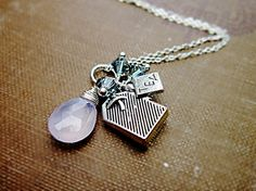 London Fog Necklace Tea Bag Charm Blue by thelittlehappygoose,
