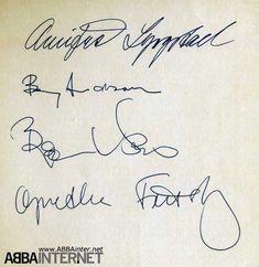 Abba members autographs (1980): Annifrid, Benny, Björn, Agnetha