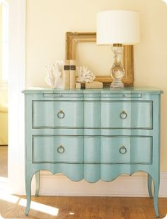 """I'm really loving blue right now -- thinking about making it the """"consistent"""" color in the new house.  I may have to rescue a piece and paint it blue for the entry."""