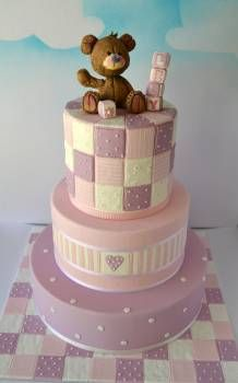 Baby Shower Cake the quilted part Cupcakes, Cupcake Cakes, Baby Shower Cakes, Christening Cake Girls, Cupcake Cake Designs, Teddy Bear Cakes, Shower Bebe, Edible Cake, Novelty Cakes