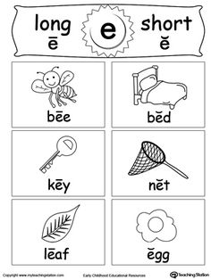 **FREE**Short and Long Vowel Flashcards: E. Help your child understanding and recognizing the short and long vowel E sounds with this Short and Long Vowel printable flashcards. Long Vowel Worksheets, Phonics Worksheets, Phonics Activities, Kindergarten Worksheets, Reading Worksheets, Blends Worksheets, Phonics Reading, Teaching Phonics, Reading Comprehension