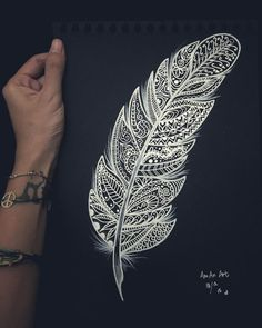 zentangle all the way Black Paper Drawing, Doodle Art Drawing, Zentangle Drawings, Mandala Drawing, Pencil Art Drawings, Zentangle Patterns, Feather Drawing, Feather Art, Feather Tattoos