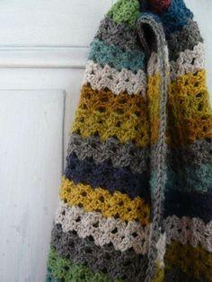 crochet striped scarf