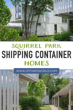 Squirrel Park consists of four single-family shipping container homes that were built using a total of 16 recycled shipping containers. Each home has 1400 square feet of living space. They were built on a 27,000 square foot plot of land. In its entirety, the project was completed on a tight $1.1 million budget. Not bad for four homes! #shippingcontainerhome #containerhomes #shippingcontainer #cargocontainer #sustainablehomes Shipping Container Homes, Shipping Containers, Cargo Container, Single Family, Square Feet, Squirrel, Sustainability, Living Spaces, Recycling