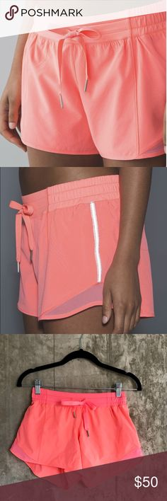 """Lululemon Hotty Hot Shorts 4"""" (grapefruit) Lululemon is completely out of stock for this color in hotty hot shorts! Designed with extra room to let you move freely, these are the perfect shorts for a good workout or just to lounge. These are the long 4"""" style. Never worn NWOT. Bag included. lululemon athletica Shorts"""