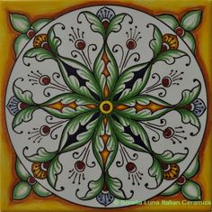 Hand painted Italian Ceramic Tiles - Yellow Green