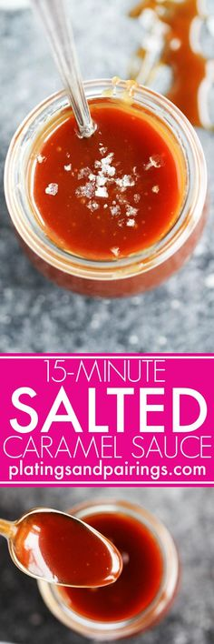 This 15 Minute Salted Caramel Sauce makes it easy to create the most amazingly delicious, rich salted caramel topping in a hurry!   platingsandpairings.com