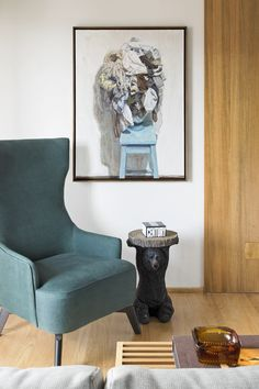 A São Paulo Apartment Inspired by Petroleum Blue - Design Milk Egg Chair, Blue Design, Wall Spaces, Wingback Chair, Accent Chairs, Living Room, House, Furniture, Home Decor